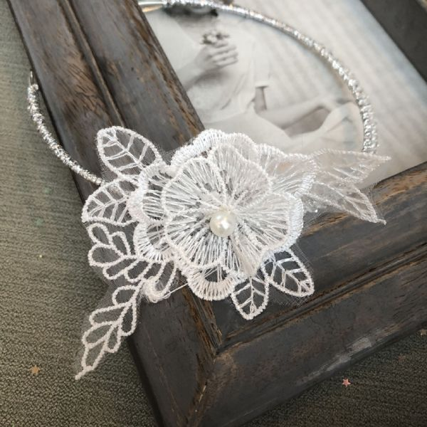 Designer wedding  tiara with lace detail